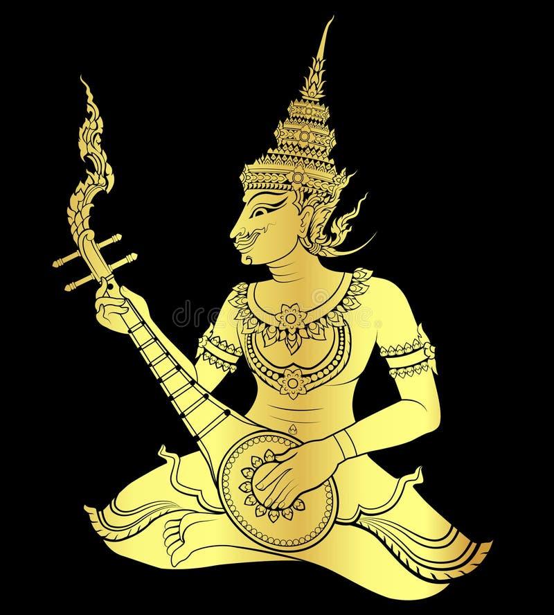Guld- thailändsk konstgitarrist stock illustrationer