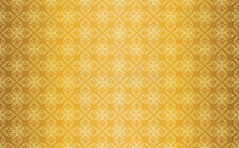 Guld- thailändsk tappninglinje Art Seamless Pattern Background royaltyfri illustrationer