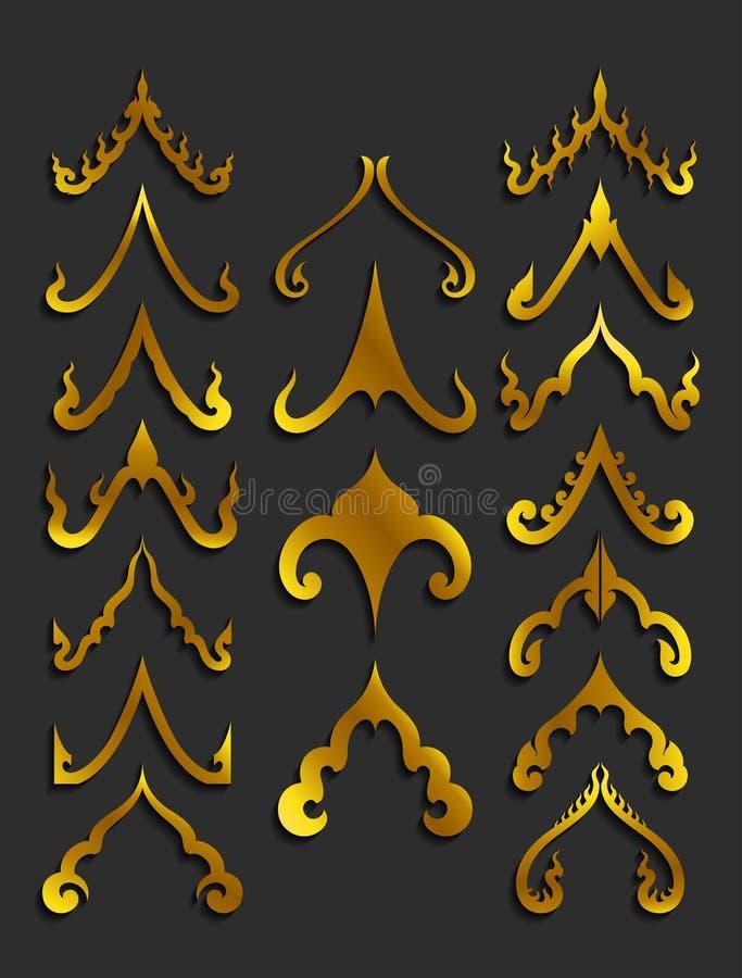 Guld- thailändska konstdesignbeståndsdelar vektor illustrationer