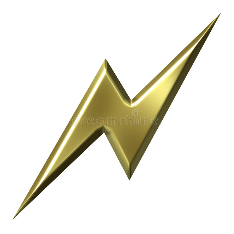 guld- thunderbolt royaltyfri illustrationer