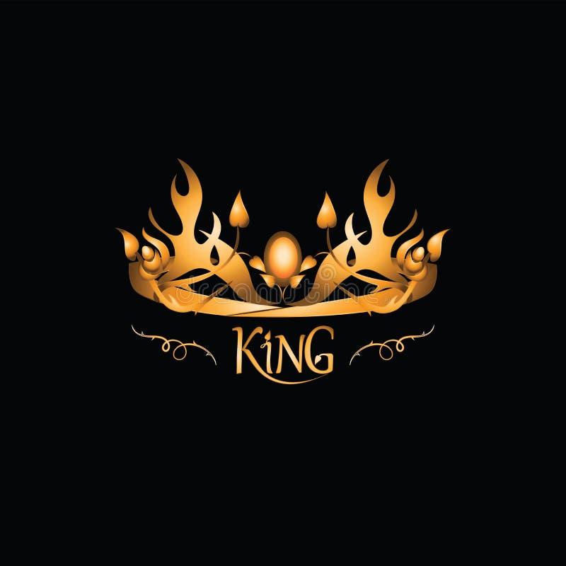 Guld- tiara med inskriften KONUNGEN emblem vektor illustrationer