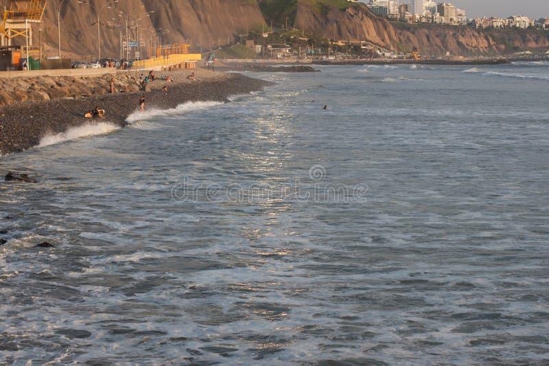 Guld- timme på Costa Verde arkivbild