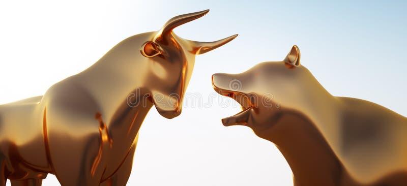 Guld- tjur och björn i solljuset stock illustrationer