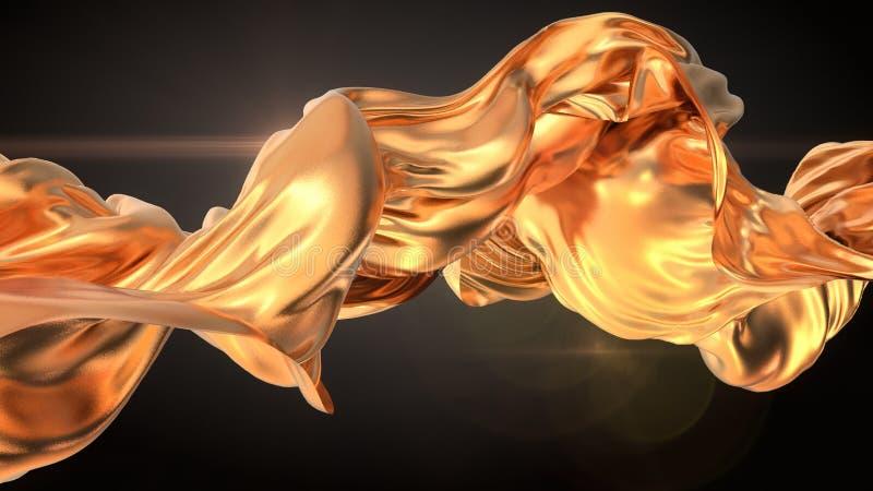 Guld- tolkning för torkdukeabstrakt begreppbakgrund 3d royaltyfri illustrationer