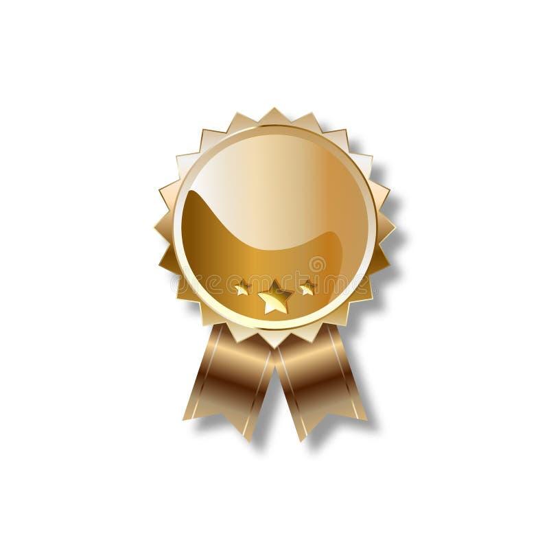 Guld- tom utmärkelserosett med bandet royaltyfri illustrationer