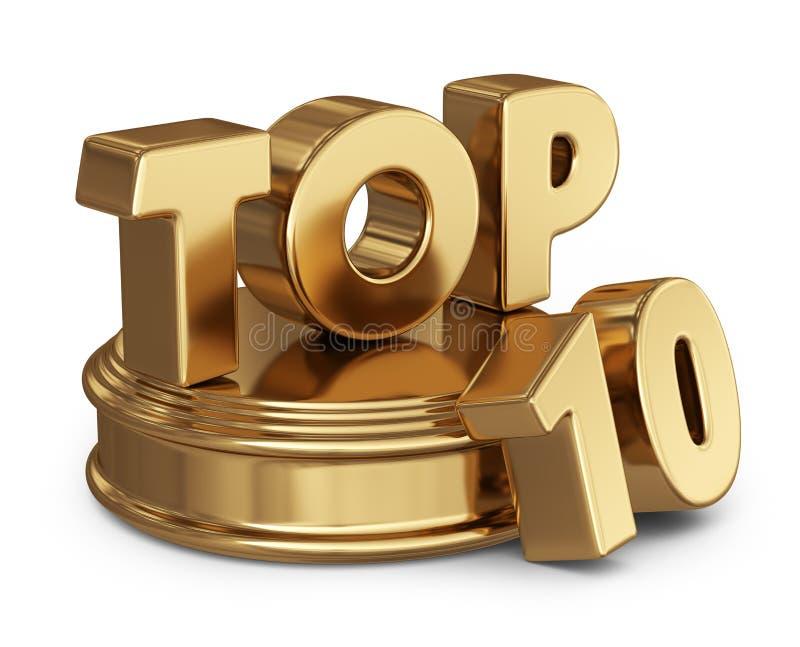 Guld- topp 10 symbol för lista 3D på vit royaltyfri illustrationer