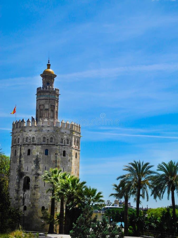 Guld- torn i Seville, Spanien royaltyfri fotografi