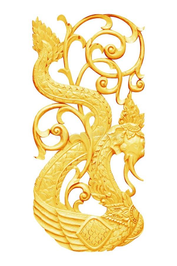 Guld- trä som snidas som isoleras på vit royaltyfri fotografi