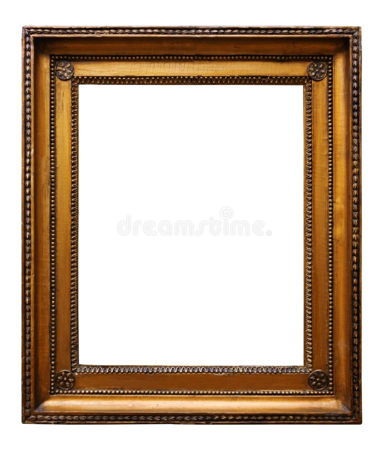 Guld- tr?utsmyckad ram f?r bild f?r design p? vit bakgrund royaltyfri foto