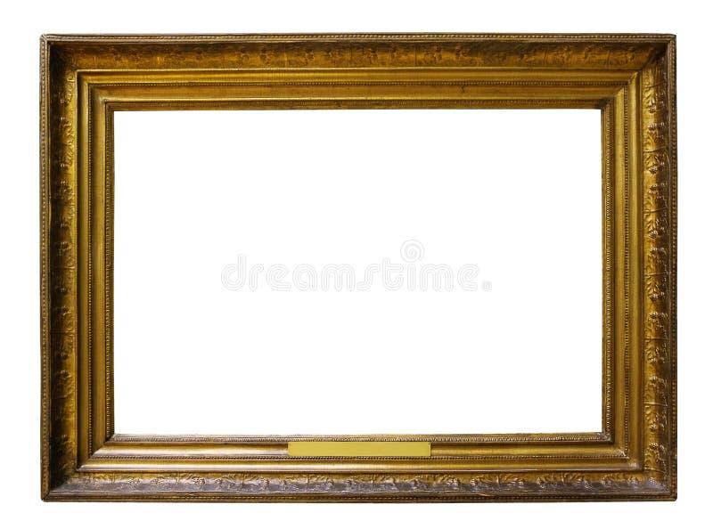 Guld- tr?utsmyckad ram f?r bild f?r design p? isolerad bakgrund arkivfoton