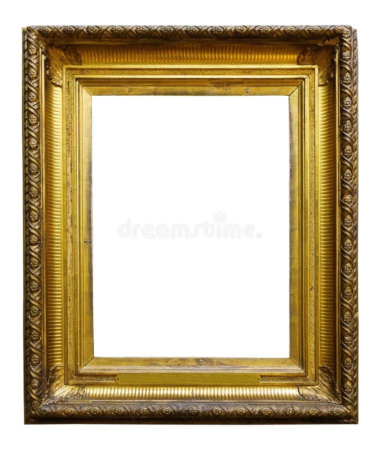 Guld- tr?utsmyckad ram f?r bild f?r design p? isolerad bakgrund fotografering för bildbyråer
