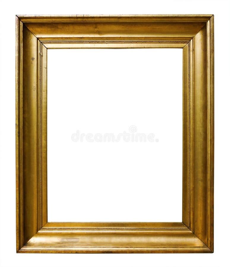 Guld- tr?utsmyckad ram f?r bild f?r design p? isolerad bakgrund royaltyfri fotografi