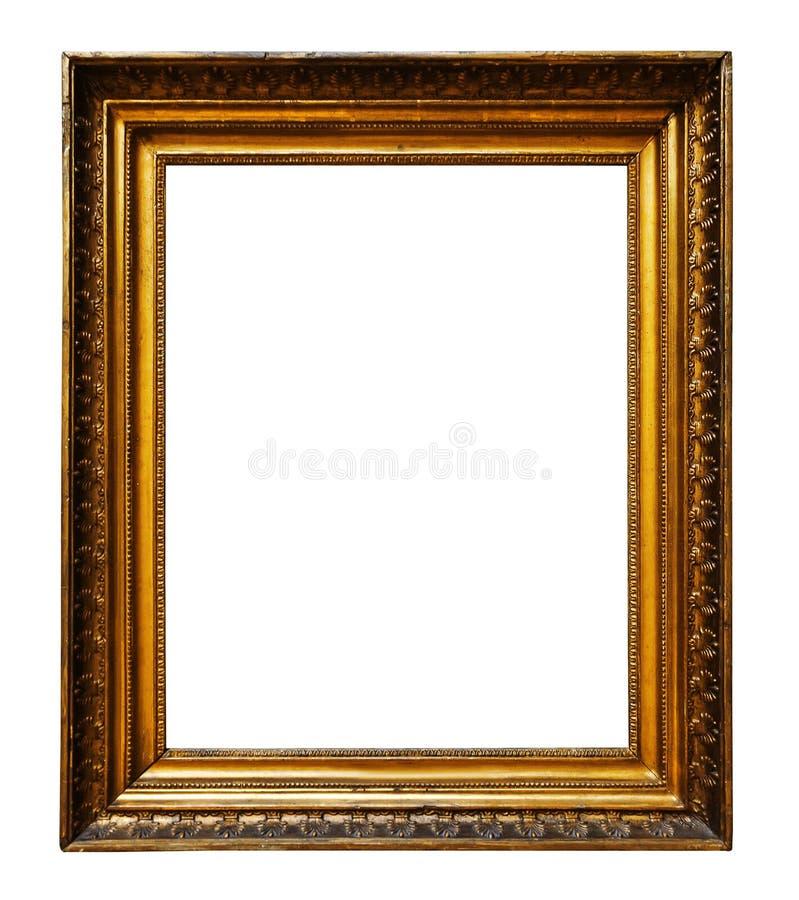 Guld- tr?utsmyckad ram f?r bild f?r design p? isolerad bakgrund royaltyfri foto