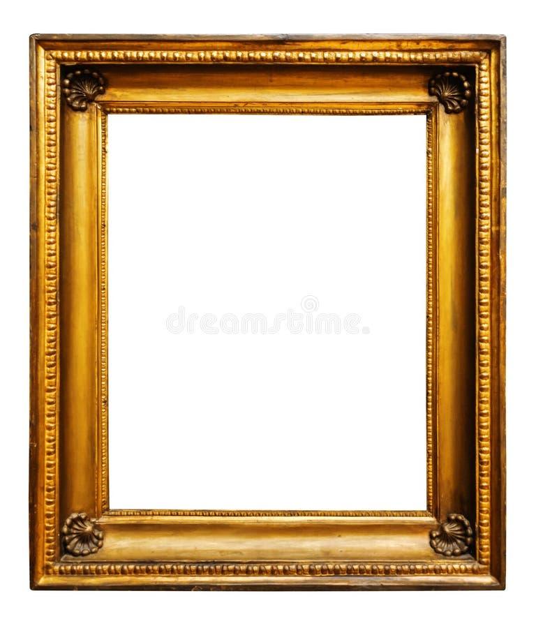 Guld- tr?utsmyckad ram f?r bild f?r design p? vit bakgrund royaltyfria bilder
