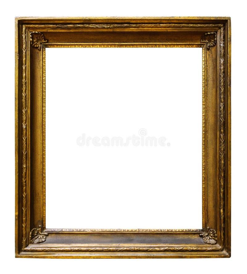 Guld- tr?utsmyckad ram f?r bild f?r design p? vit bakgrund arkivbild