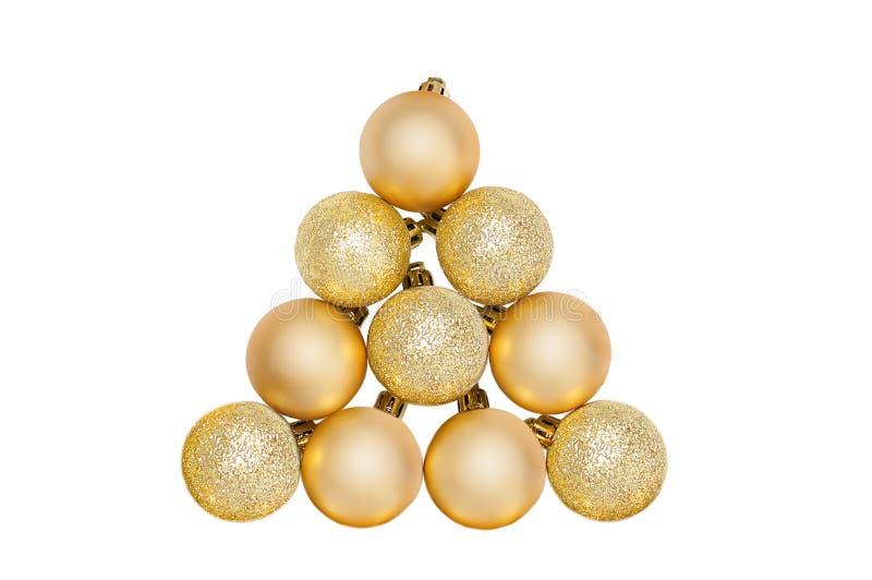 guld- tree för bolljul arkivbild