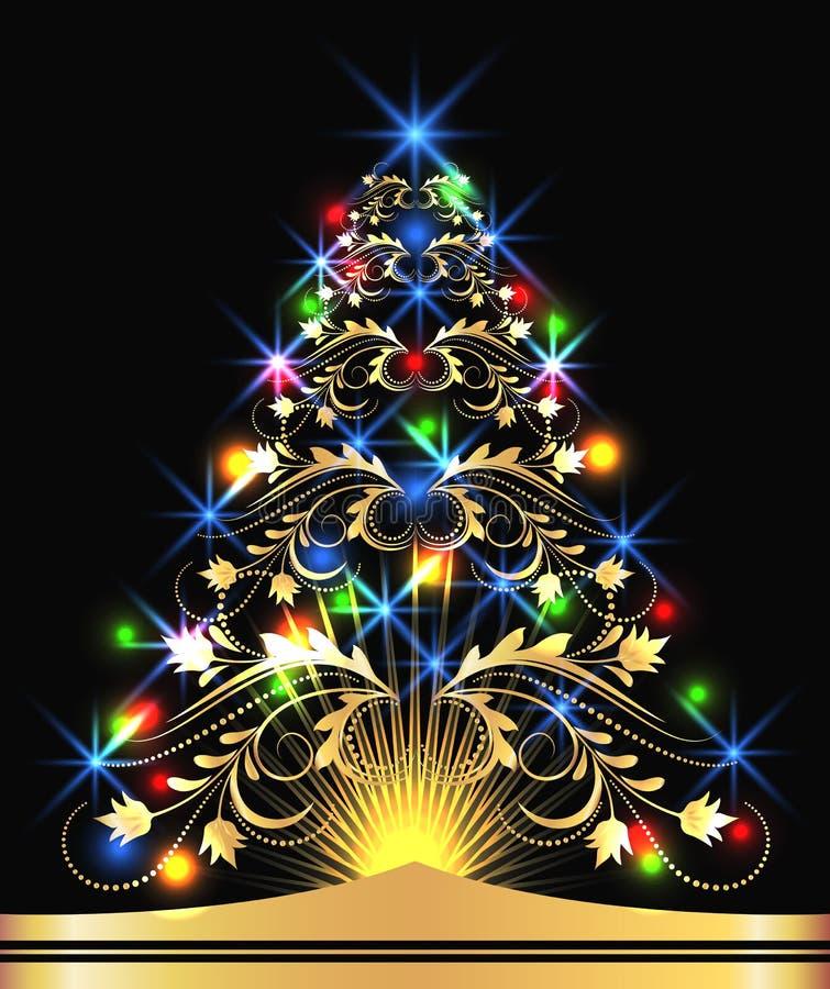 guld- tree för julpäls vektor illustrationer