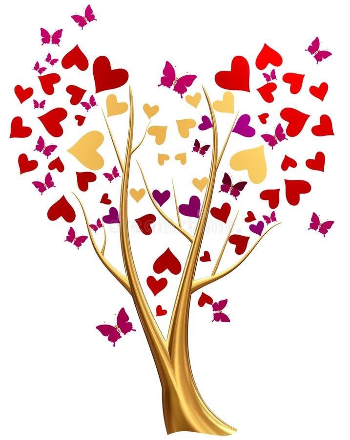 Guld- tree med hjärtor och fjärilar stock illustrationer