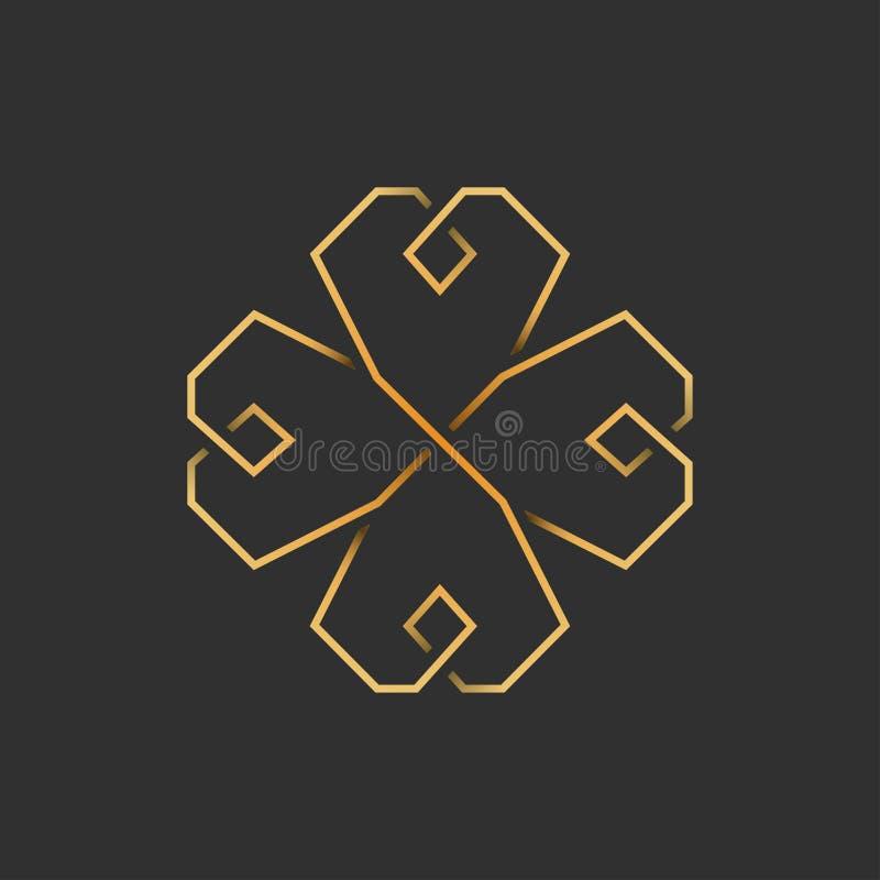 Guld- treklöver för fyra blad i keltisk stil, vektor royaltyfri illustrationer
