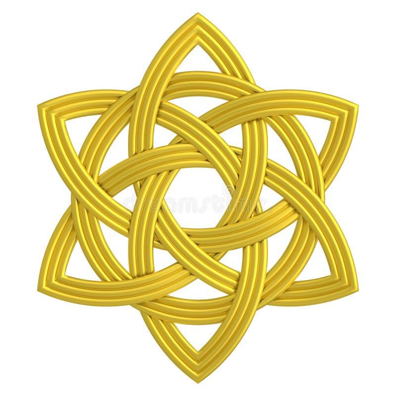 Guld- Triquetra för guld- Treenighet för blommafnurendubblett symbol vektor illustrationer