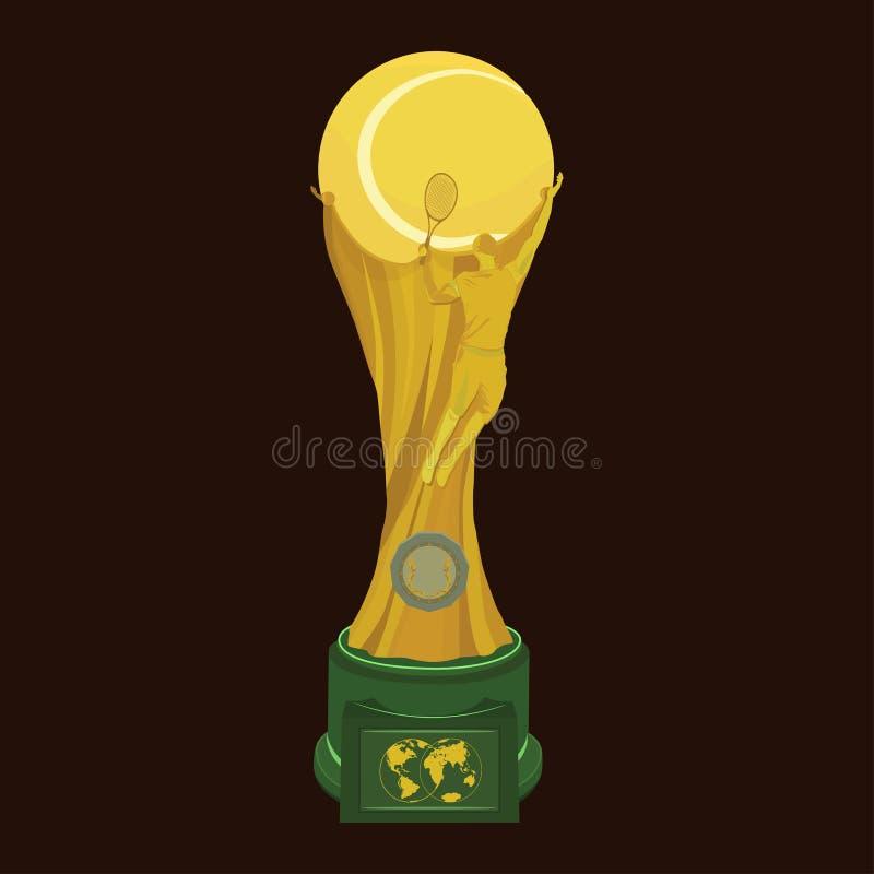 Guld- trofé för tennisutmärkelse, vektor isolerad illustration vektor illustrationer