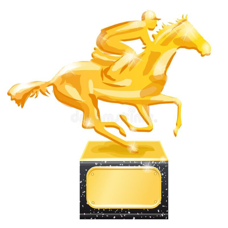 guld- trofé nordlig pyatigorsk tävlings- russia för caucasus hippodromehäst Vektorillustration som isoleras på vit bakgrund stock illustrationer