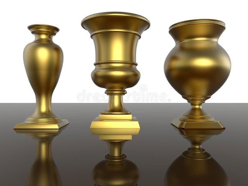 Guld- troféer vektor illustrationer