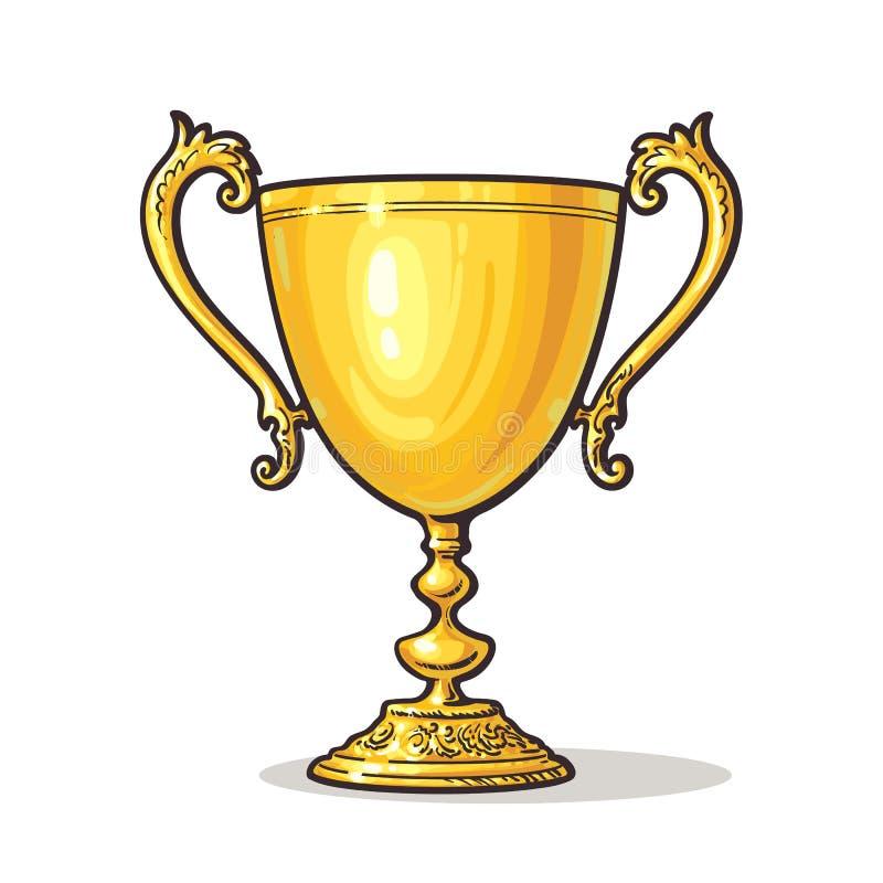 Guld- trofékopp royaltyfri illustrationer