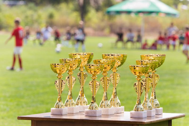 Guld- trofékoppar för härlig mästare för vinnare i fotbollkomp royaltyfri fotografi