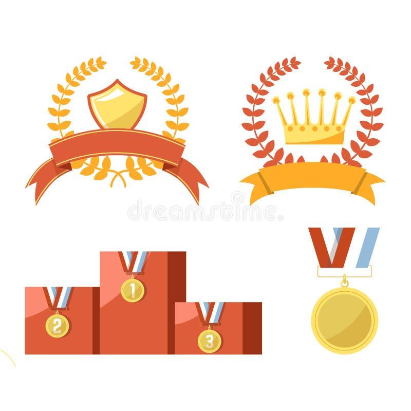 Guld- trofémedaljer och emblem isolerade illustrationer ställde in stock illustrationer