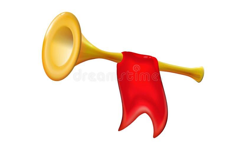 guld- trumpet för fanfar 3d Realistisk symbol med för vindmusikinstrument för röd flagga det isolerade glansiga tecknet, garnerin stock illustrationer