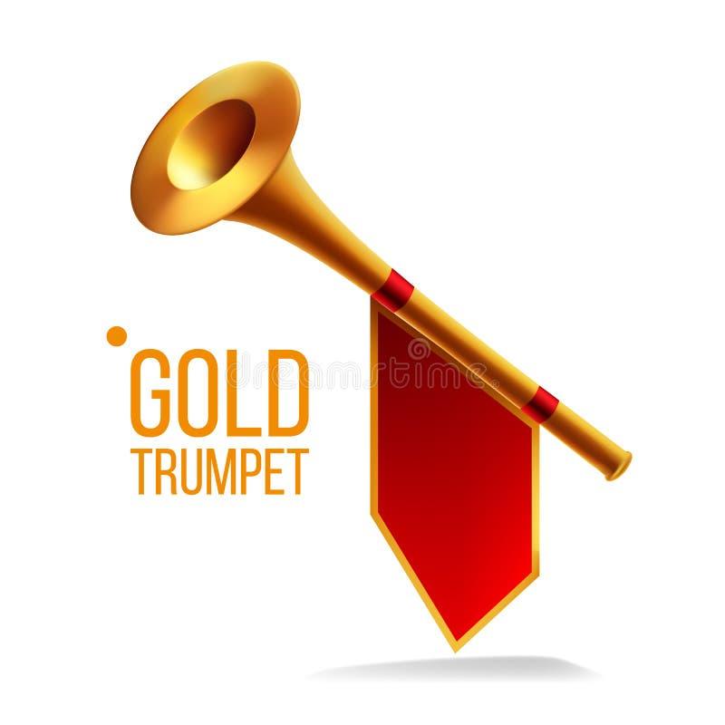 Guld- trumpetvektor Fanfare Horn Musikaliska Herald Object Högt instrument Isolerad realistisk illustration vektor illustrationer