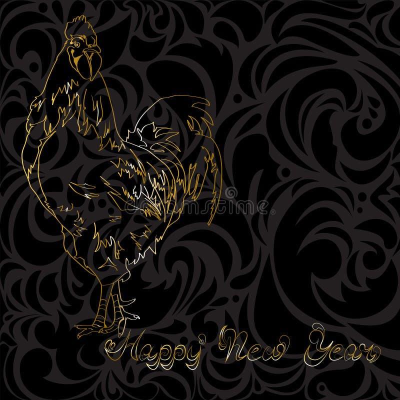 Guld- tupp på en svart bakgrund royaltyfri illustrationer