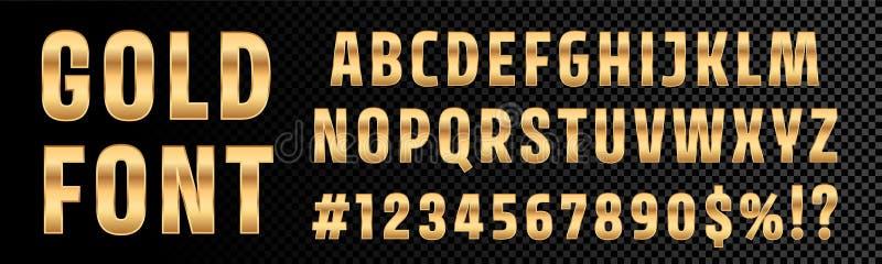 Guld- typografi för alfabet för stilsortsnummer och bokstavs Guld- stilsortstyp för vektor med guld- effekt 3d royaltyfri illustrationer