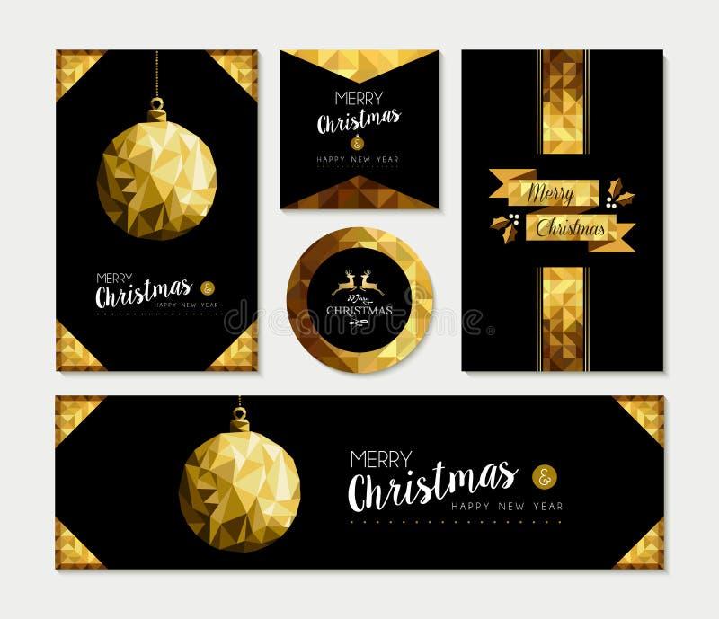Guld- uppsättning för mall för julkort av feriedesignen royaltyfri illustrationer