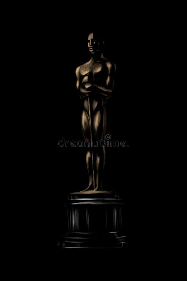 Guld- utmärkelse eller trofé Oscarsymbol på en svart bakgrund royaltyfri illustrationer