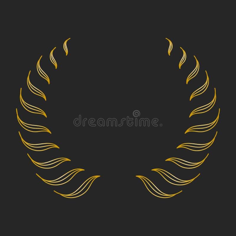 Guld- utmärkelselagerkrans på mörk bakgrund royaltyfri illustrationer