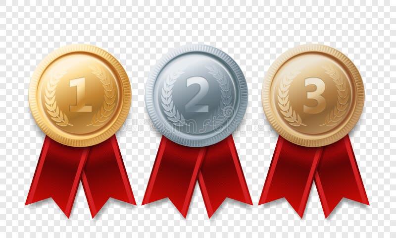 Guld- utmärkelser för vektor för medalj för silverbronsmästare stock illustrationer