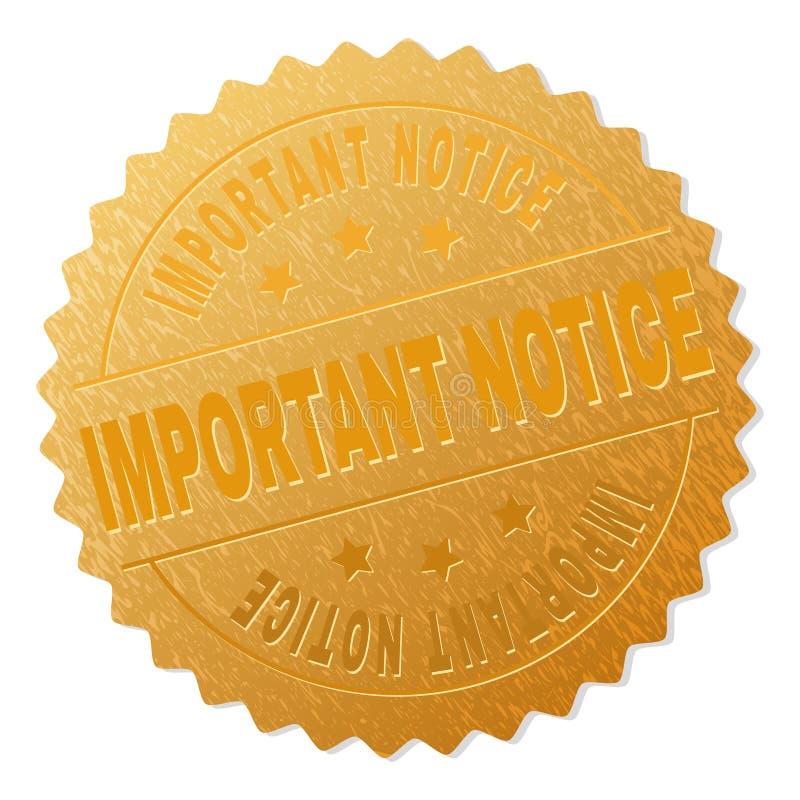 Guld- utmärkelsestämpel för VIKTIGT MEDDELANDE royaltyfri illustrationer