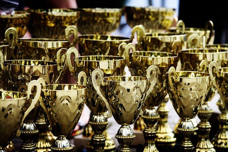 Guld- utmärkelsetroféseger arkivfoton