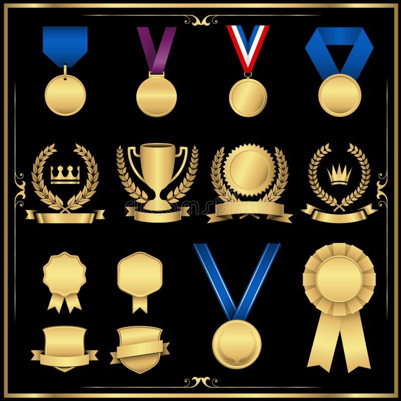 Guld- utmärkelseuppsättning stock illustrationer