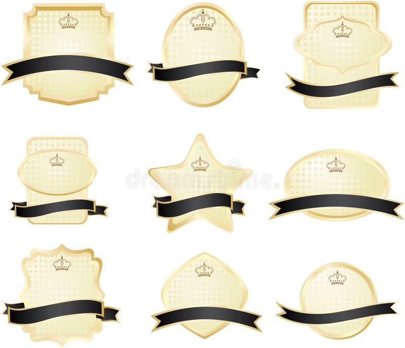 guld- utsmyckad vektor för dekorativa ramar stock illustrationer