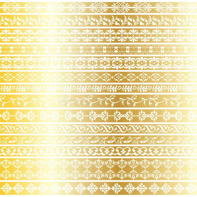 Guld- utsmyckade gränsmodeller vektor illustrationer
