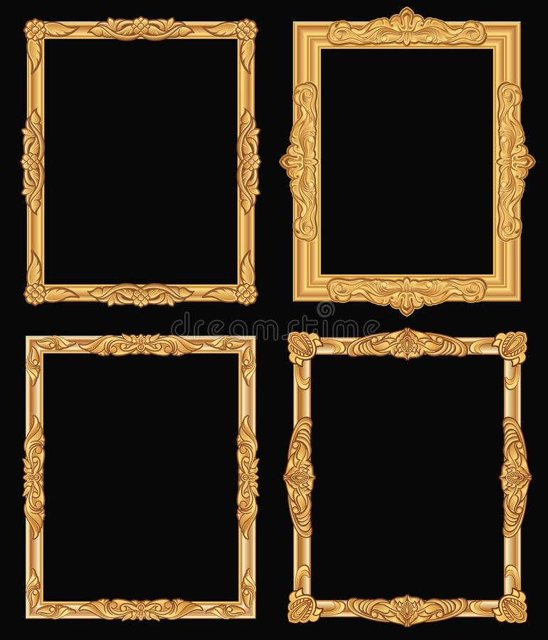 Guld- utsmyckade isolerade fyrkantramar för tappning Retro skinande lyxiga guld- vektorgränser royaltyfri illustrationer