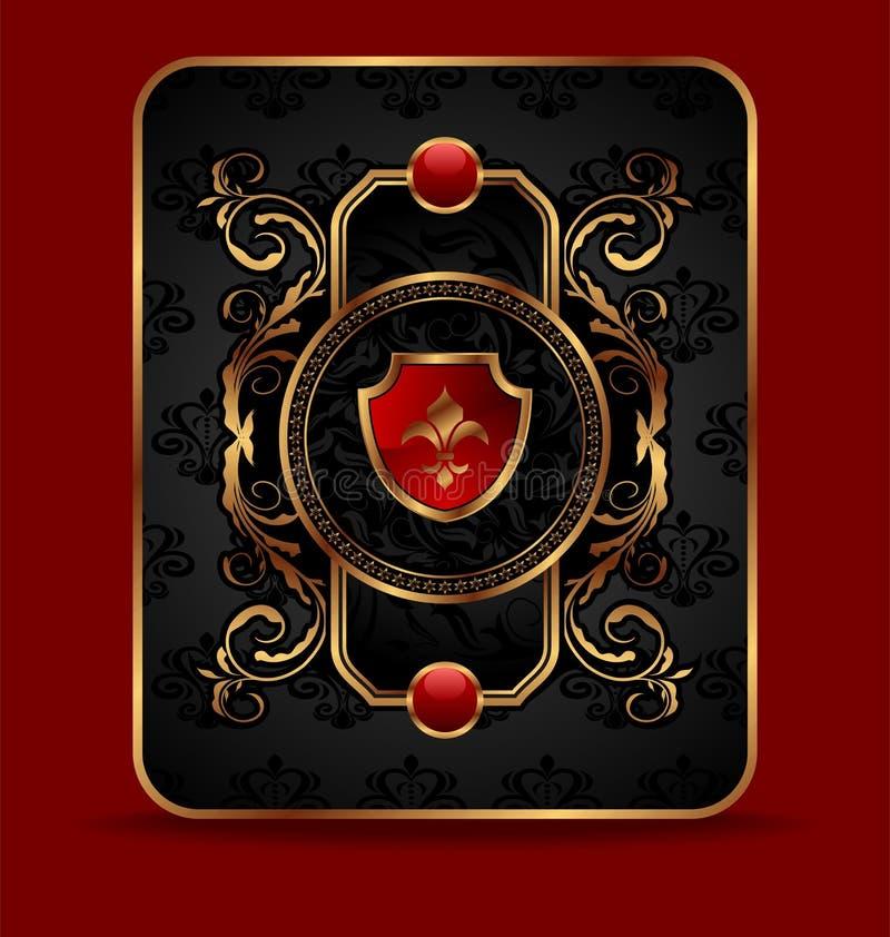 guld- utsmyckat för dekorativ ram royaltyfri illustrationer