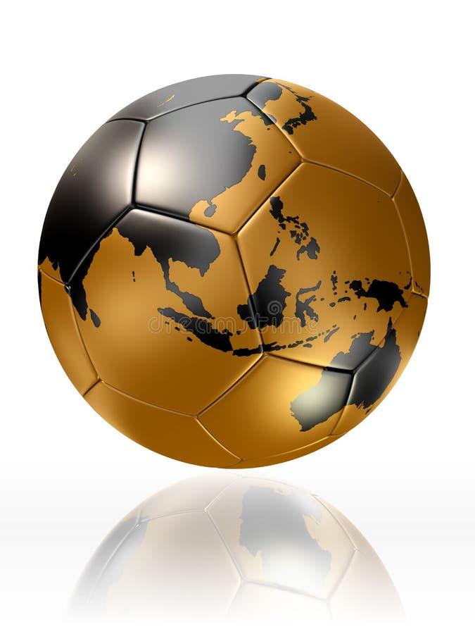 Guld- världskarta Australien asia för jordklot för fotbollboll royaltyfri illustrationer