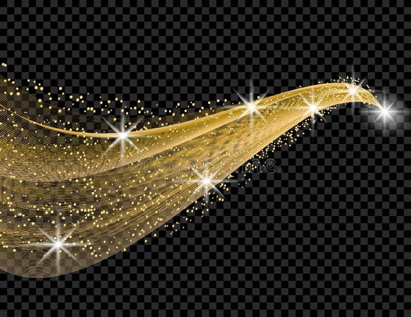Guld- våg med en skeneffekt på en rutig bakgrund Komet med en lysande svans illustration stock illustrationer
