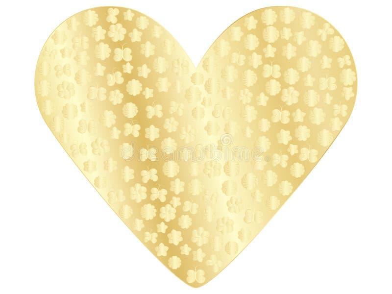 Guld- valentin stock illustrationer