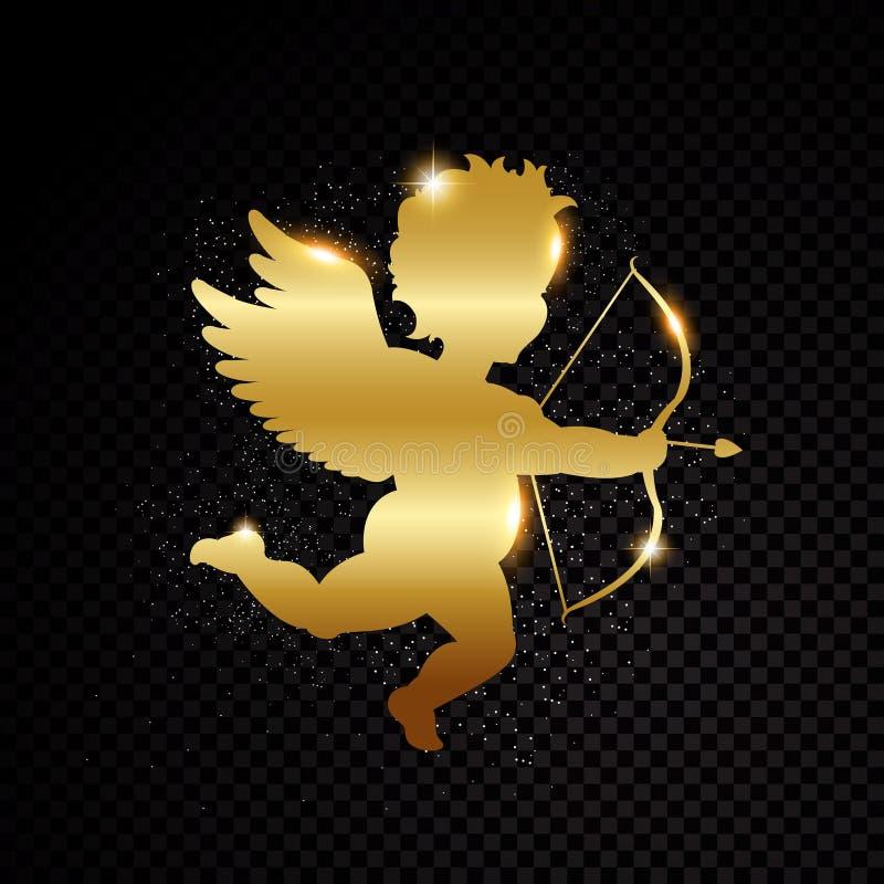 Guld- valentinkupidonkontur som isoleras på svart genomskinlig bakgrund också vektor för coreldrawillustration royaltyfri illustrationer