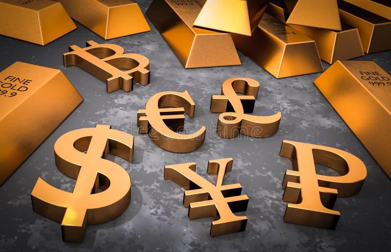 Guld- valutasymboler och guld- stänger vektor illustrationer